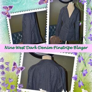 EUC   Nine West Dark Denim Pinstripe Blazer